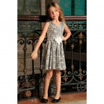 Black White Stretchy Sleeveless Skater Fit & Flare Party Dress - Girls