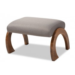 Baxton Studio Sandrine Modern and Contemporary Grey Fabric Upholstered Walnut Brown Finished Wood Ottoman