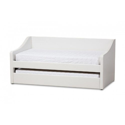 Baxton Studio Barnstorm Modern and Contemporary White Faux Leather Upholstered Daybed with Guest Trundle Bed