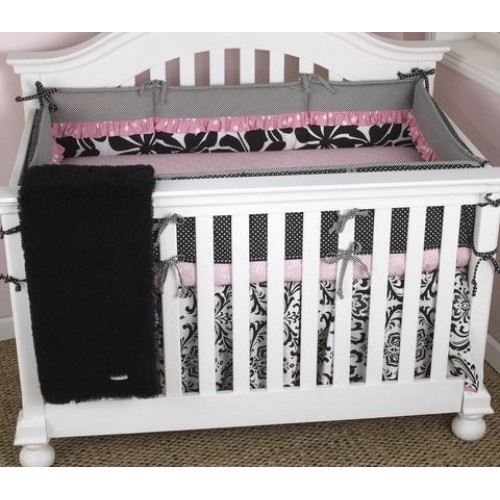 Pink Floral Baby Bedding Set 4PC Girly Collection