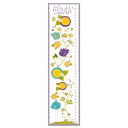 Purple Birds In Garden Growth Chart Personalized with Child's Name