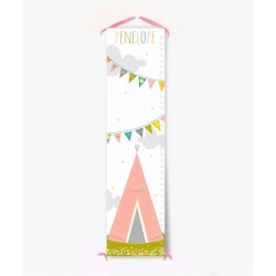 Personalized Pink Tee Pee Growth Chart