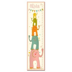 Stacked Elephants Pink Growth Chart
