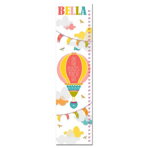 Personalized Oh The Places You'll Go Hot Air Ballon Growth Chart - Pink