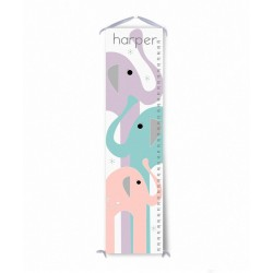 Personalized Purple Pink and Blue Elephant Growth Chart