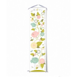 Bird Garden (Pink) Personailzed with Child's Name Growth Chart