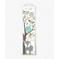 Personalized Woodland Fox and Owl Growth Chart