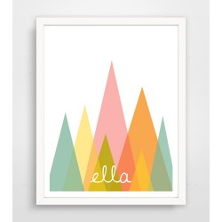 Personalized Pink Abstract Mountain Name Print