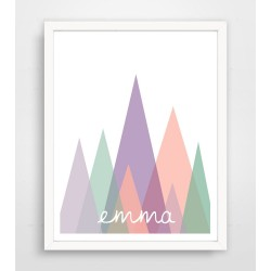 Personalized Pink and Purple Abstract Mountain Name Print