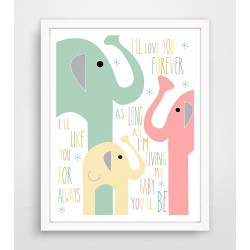 I'll Love You Forever Pink Elephant Family Print